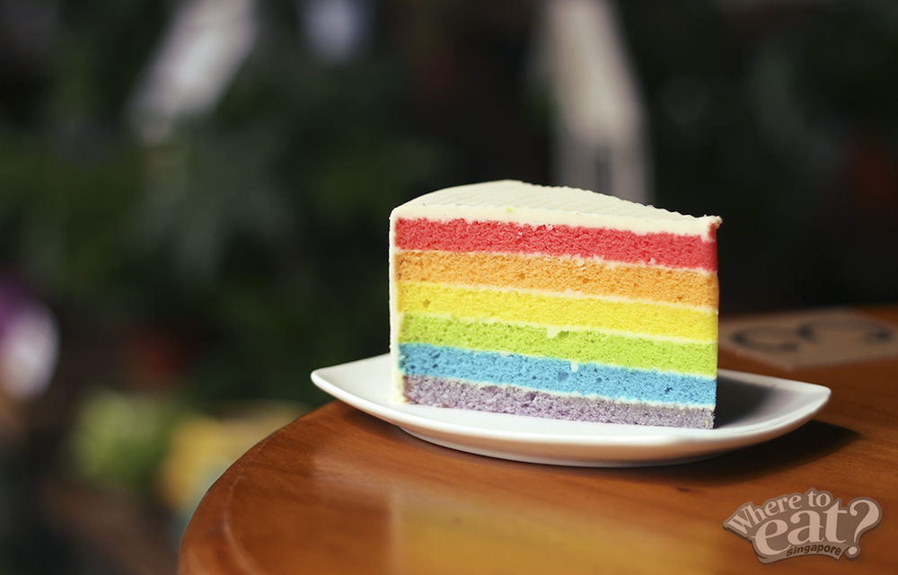 A rainbow cake is a rainbow cake, no matter where it's served.